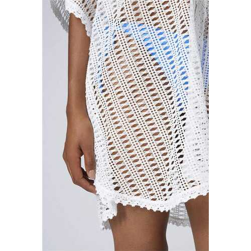 Lace V Neck Hollow Out Crochet Beachwear White