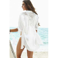 Chiffon Triangle Crochet Back Sun-protective Blouse with Button White