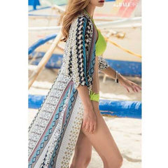 Aztec Print Open Front Long Cover Up