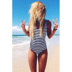 Seductive Women Striped Strappy Backless One Piece Swimsuit