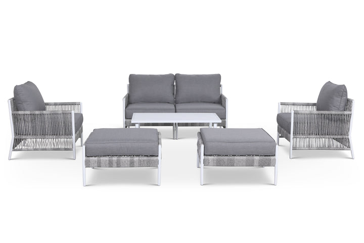 Olivia Grey 7 Piece Outdoor Roped Wicker Sofa Set