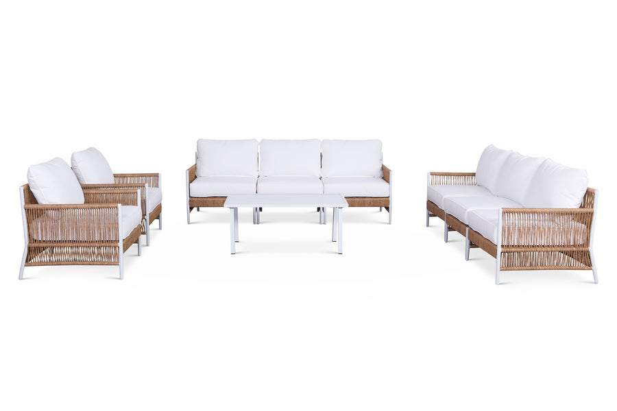 Olivia Ivory 9 Piece Outdoor Roped Wicker Conversational Sofa Set