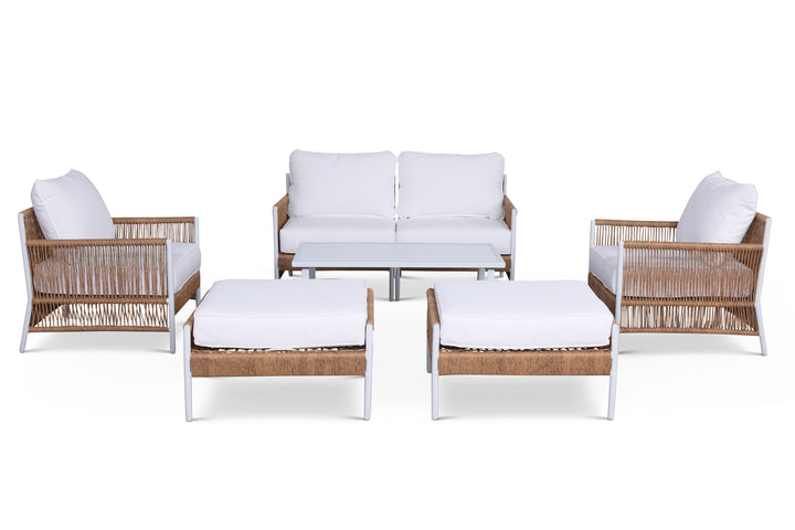 Olivia Ivory 7 Piece Outdoor Roped Wicker Sofa Set