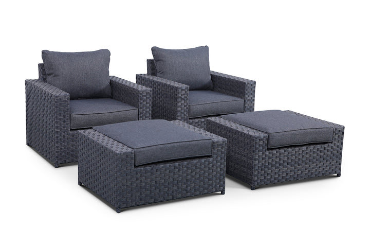 Cromwell 4 Piece Club Chair and Ottoman Set