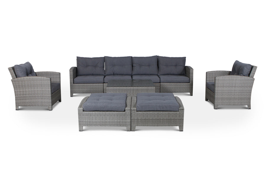 Stamford Grey 9 Piece Outdoor Wicker Sectional Set
