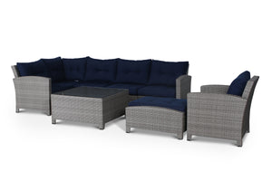 Stamford Navy 8 Piece Sectional Set