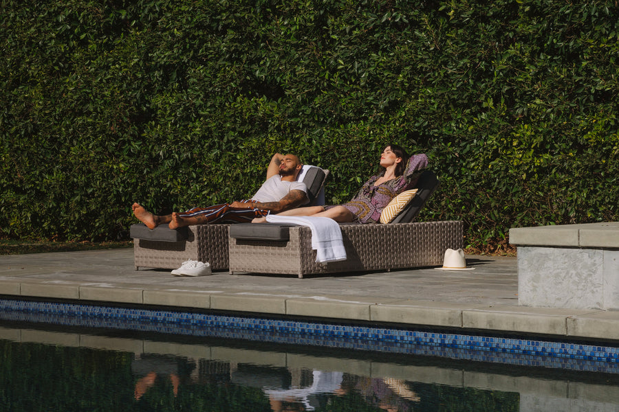 Kensington Grey 2 Piece Set of Outdoor Wicker Chaise Lounges