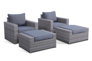 Kensington Grey 4 Piece Outdoor Club Chair Conversation Set