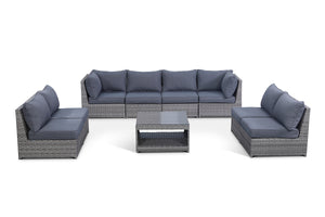 Kensington Grey 9 Piece Outdoor Modular Sofa Set