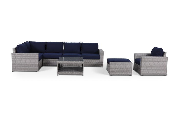 Kensington Navy 8 Piece Sectional Set