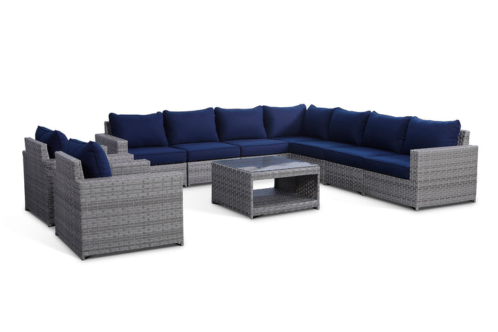 Kensington Navy 10 Piece Large Sectional Set