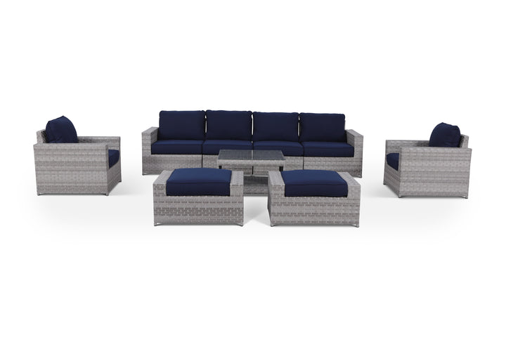 Kensington Navy 9 Piece Outdoor Wicker Large Sofa Set