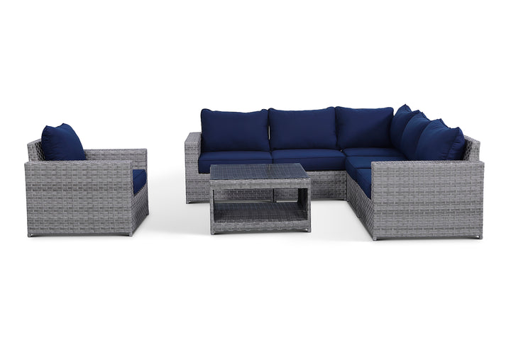 Kensington Navy 7 Piece Outdoor Sectional Set
