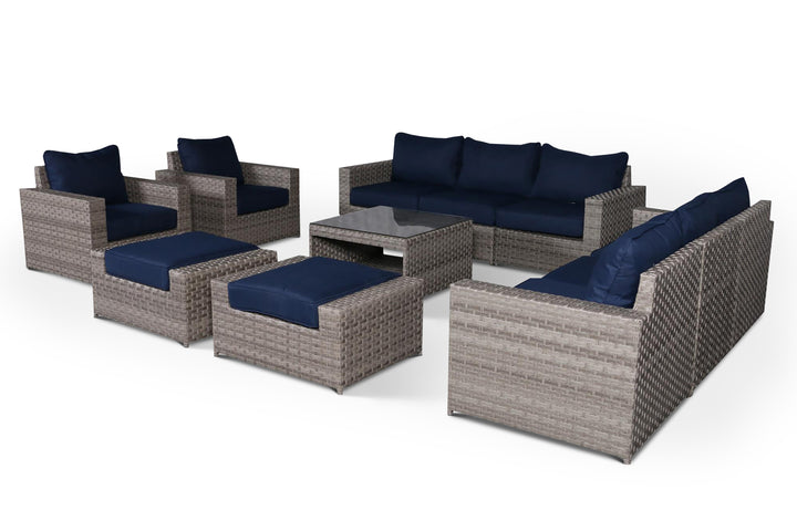 Kensington Navy 11 Piece Large Sofa Set