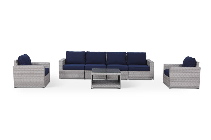 Kensington Navy 7 Piece Outdoor Large Sofa Set