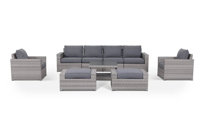 Kensington Grey 9 Piece Outdoor Wicker Large Sofa Set