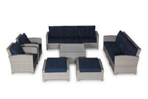 Stamford Navy 11 Piece Large Sofa Set - SunHaven Home