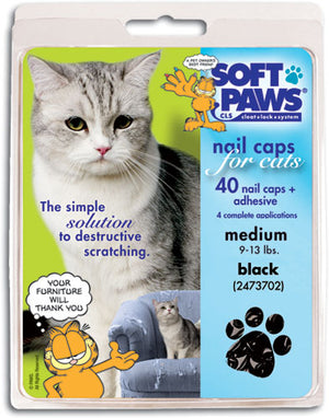 Soft Paws Black Cat Nail Caps Medium