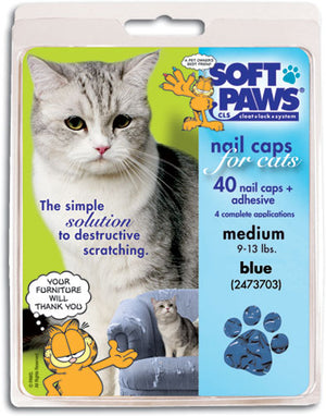 Soft Paws Blue Cat Nail Caps Medium
