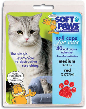 Soft Paws Red Cat Nail Caps Small