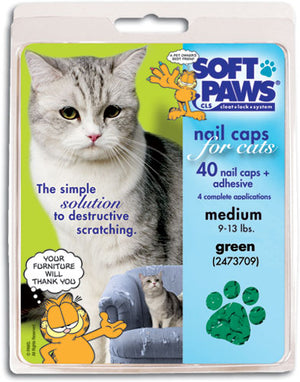 Soft Paws Green Cat Nail Caps Small