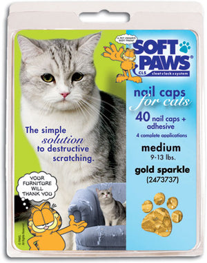 Soft Paws Gold Sparkle Cat Nail Caps Medium