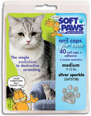 Soft Paws Silver Sparkle Cat Nail Caps Large
