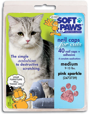 Soft Paws Pink Sparkle Cat Nail Caps Small