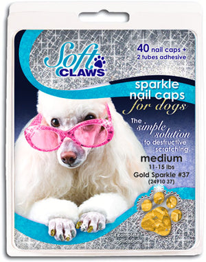 Soft Claws Gold Sparkle Dog Caps XSmall
