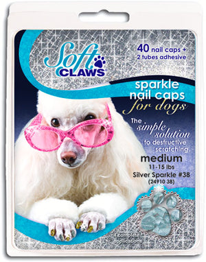 Soft Claws Silver Sparkle Nail Dog Caps Medium
