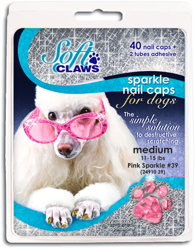 Soft Claws Pink Sparkle Dog Caps XLarge