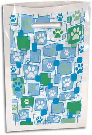 Blue Paw Prints in Squares Supply Bags