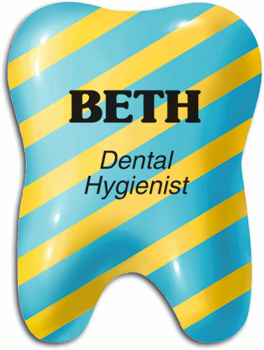 Colourful 3D Tooth Name Badge