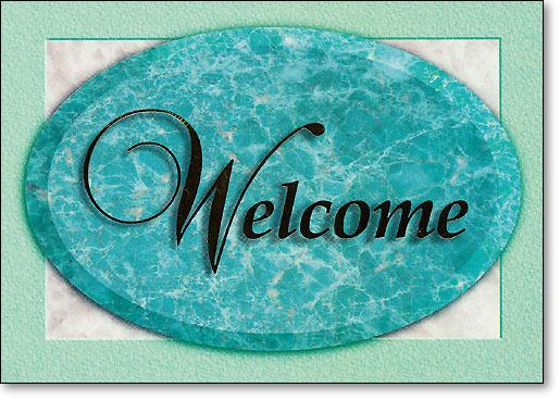 Welcome Green Oval Postcard