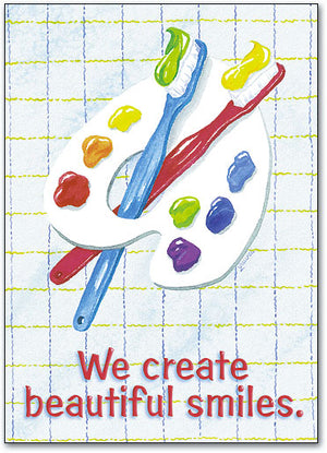 Toothbrushes and Palette Postcard
