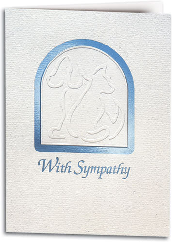 With Sympathy Cat Dog Deluxe Folding Card