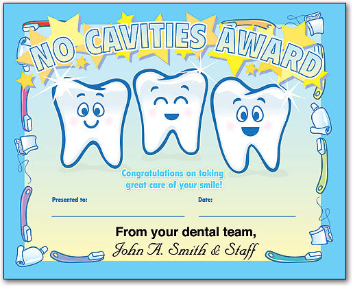 No Cavities Achievement Certificate
