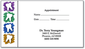 Four Vertical Teeth Appointment Business Card