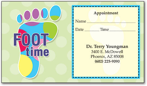Colorful Foot Time Sticker Appointment Card