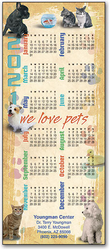 We Love Pets Promotional Calendar
