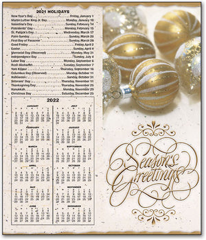 Golden Ornaments Tear-off Calendar Card with Envelope