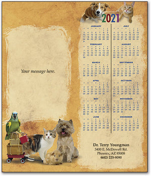 Joyful Greetings Pets Tear-off Calendar Card with Envelope