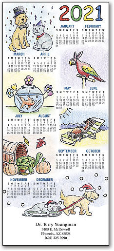 Holiday Colouring Bk Pets Tri-fold Calendar with Envelope