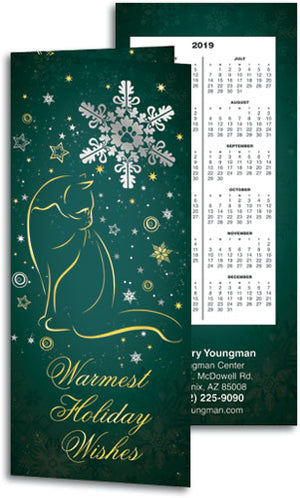 Silver and Gold Cats Tear-off Calendar Card with Envelope