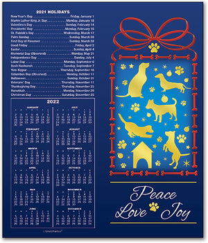 Wrapped Up Dogs Tear-off Calendar Card with Envelope