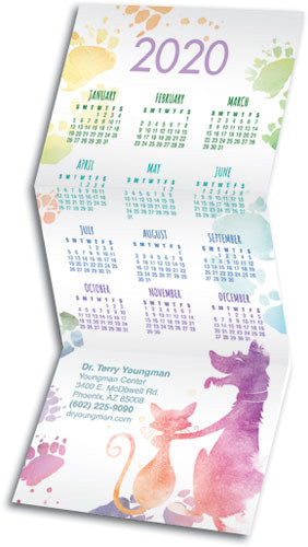 Watercolour Wags Tri-Fold Calendar with Envelope