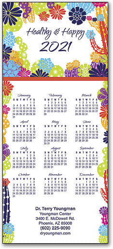 Blooming Cacti Tri-fold Calendar with Envelope