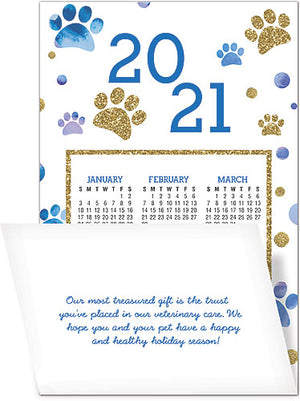 Ornamental Paws Greeting Card with Tri-Fold Calendar