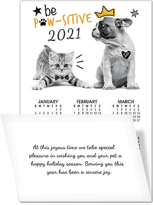 Be Pawsitive Greeting Card with Tri-Fold Calendar