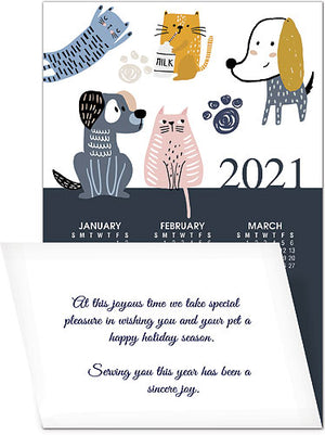 Pet Playtime Greeting Card with Tri-Fold Calendar